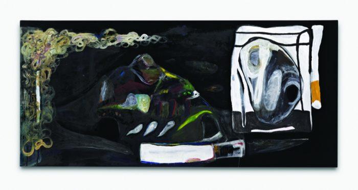 Profissimo,  Reinigungsgel, Kreide,  Öl und Acryl auf Synthetik,  50 x 108 cm,   2015