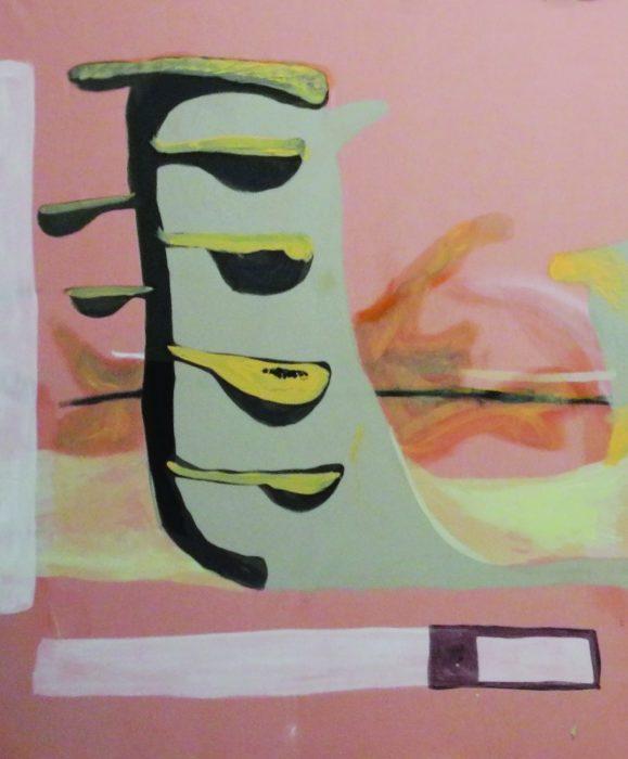 Bor (Detail),  Acryl, Öl, Kreide und Creme auf Baumwolle,  135 x 220 cm,  2017