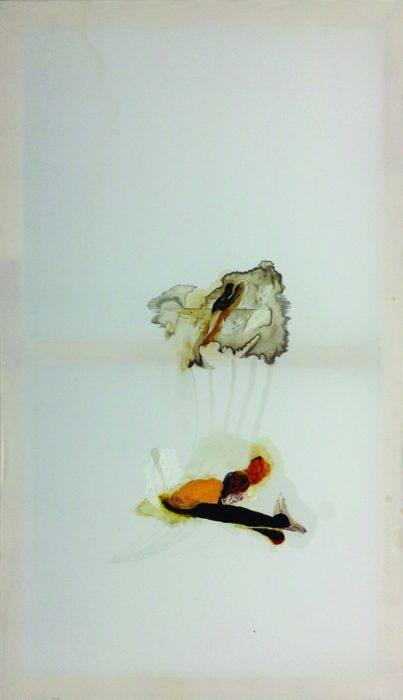 tobetitled,  Nierentee, Antitabakwachs, Asche,  Öl und Acryl auf Synthetik,  120 x 70 cm,  2015